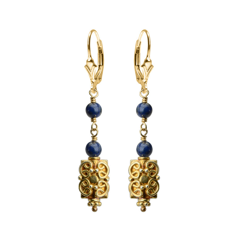 Sparkling Vermeil with Lapis Earrings with Gold Filled Lever-Back Hooks