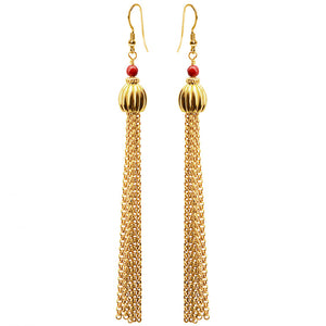 Fun & Glamorous Coral Gold Plated Chain Earrings
