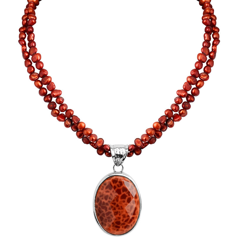Radiant Flame Fire Agate and Fresh Water Pearl Sterling Silver Statement Necklace