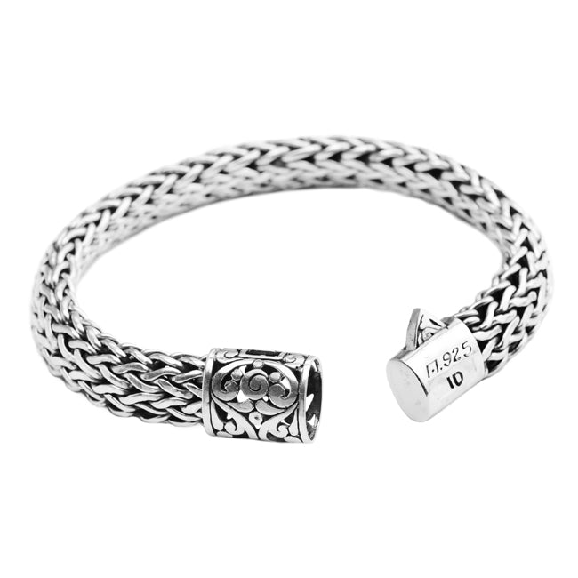 Sterling Silver Bali Weave with Filigree Barrel Clasp Bracelet 12mm