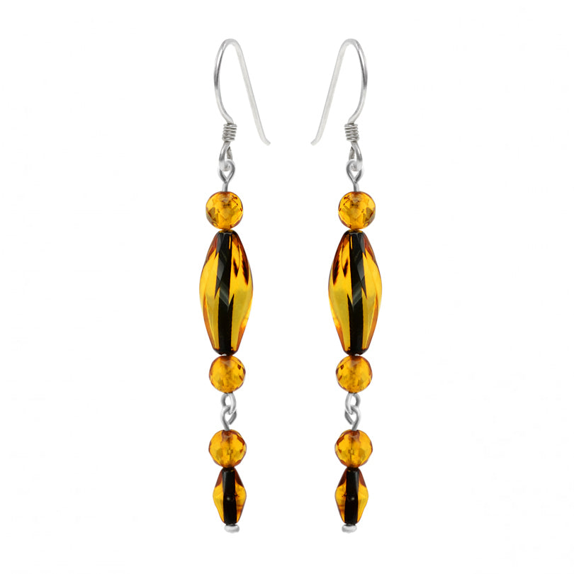 Natural Wave Cut Cognac Baltic Amber Sterling Silver Earrings