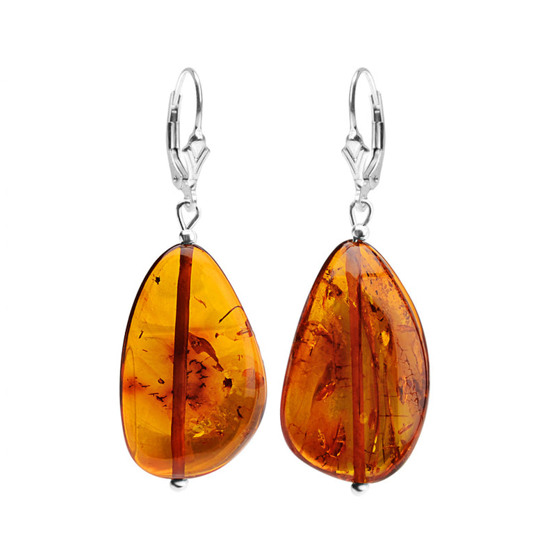 Gorgeous Cognac Baltic Amber Sterling Silver Earrings