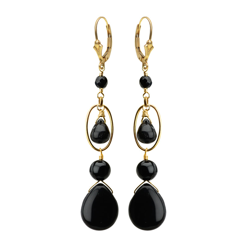 Black Onyx Gold Filled Earrings