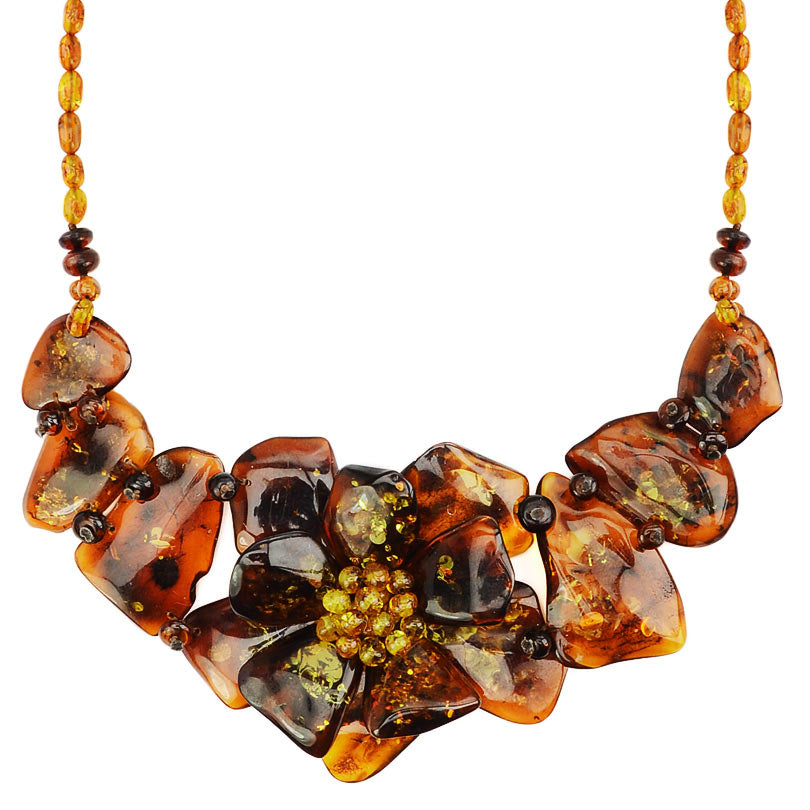 Gorgeous Polish Designer Baltic Amber Flower Statement Necklace