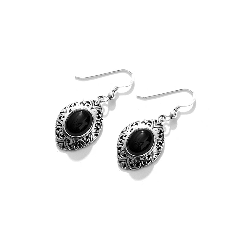 High Polished Black Onyx Balinese Sterling Silver Statement Earrings