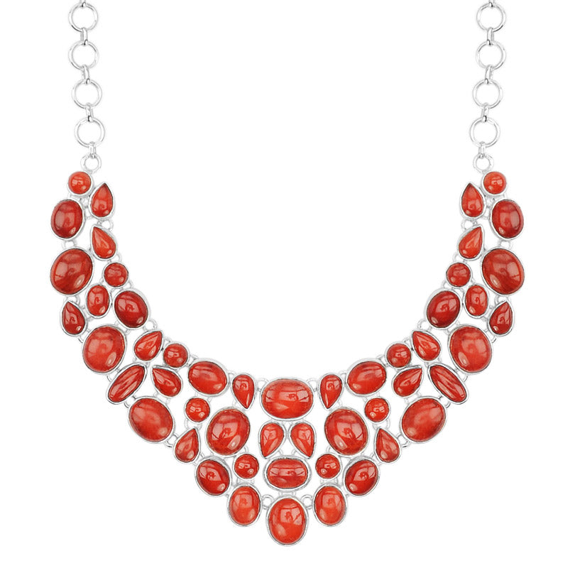 Bold, Rich Red Coral Sterling Silver Statement Necklace