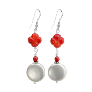 Lustrous White Coin Pearl and Coral Flower Sterling Silver Earrings
