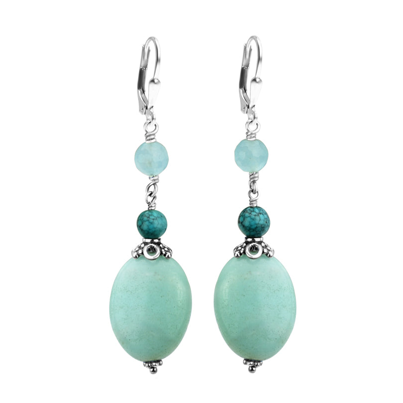 Rich Blue Amazonite & Turquoise Sterling Silver Earrings