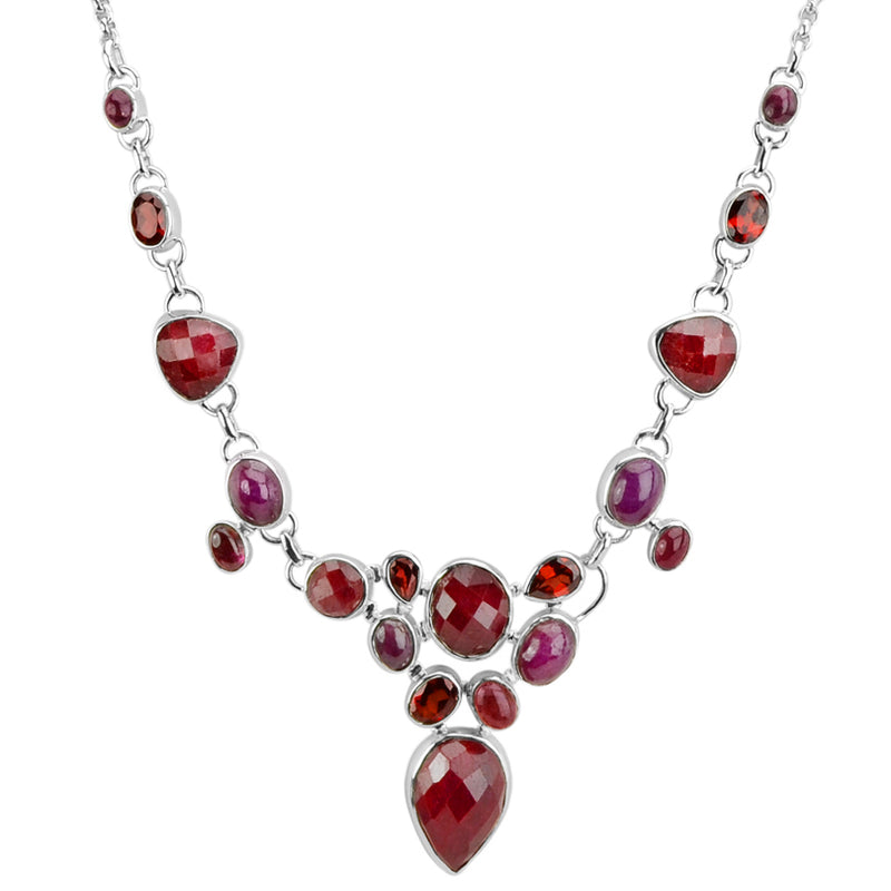 Deep Red Corundum With Tourmaline and Garnet Sterling Silver Necklace