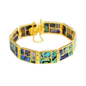 Gorgeous Lustrous Labyrinth Abalone Gold Plated Statement Bracelet