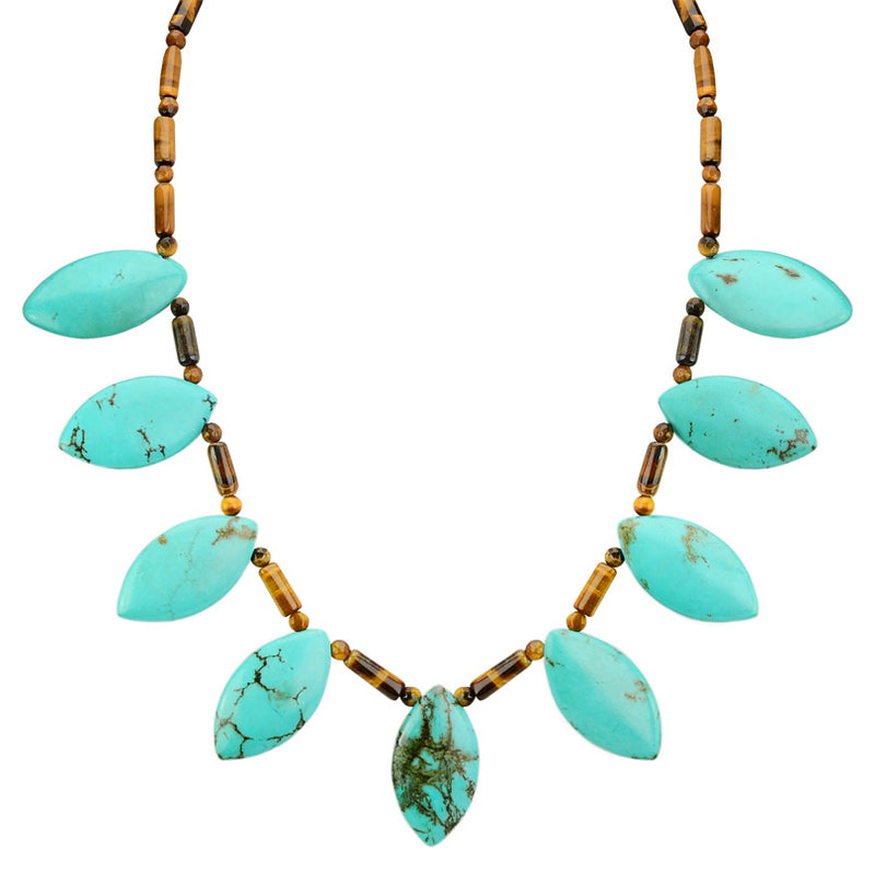 Striking Blue Chalk Turquoise and Shimmering Tiger's Eye Sterling Silver Statement Necklace