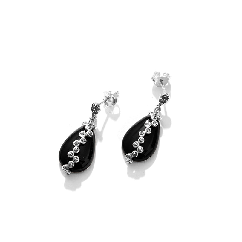 Beautiful Jazzy Black Onyx Marcasite Sterling Silver Statement Earrings