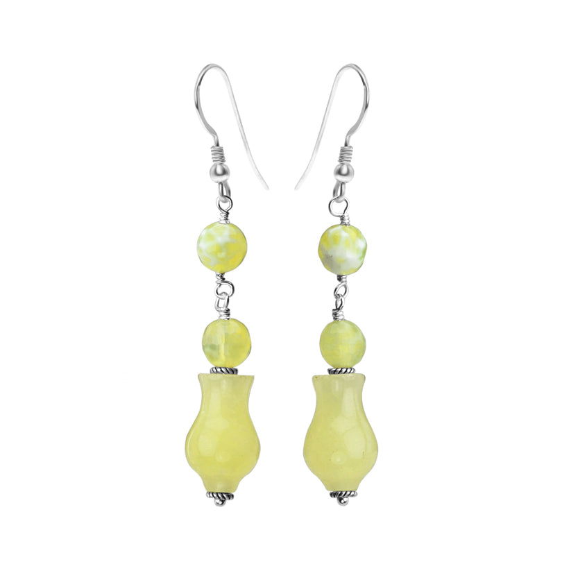 Luscious Lemon Agate Sterling Silver Earrings