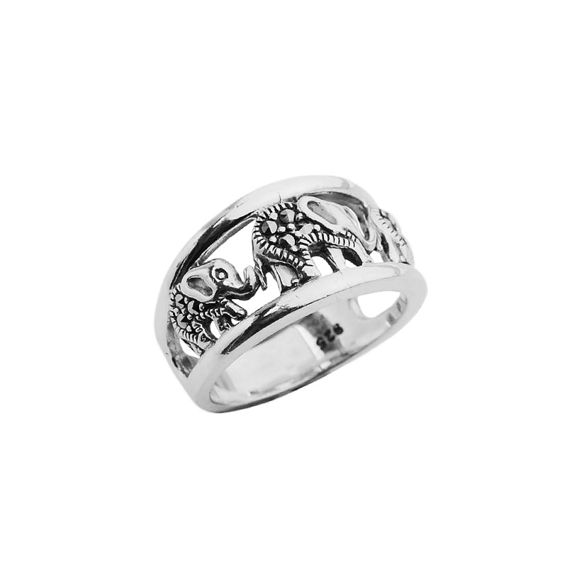 Elephant Family of Three Sterling Silver Marcasite Ring