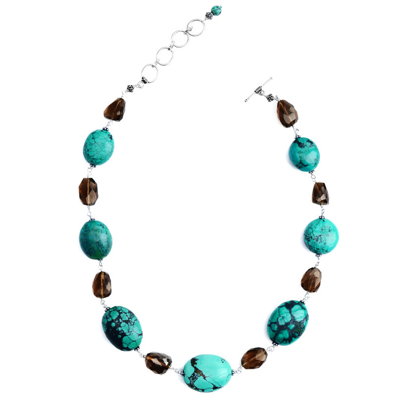 Genuine large Turquoise Stones with Smoky Quartz Sterling Silver Necklace 17