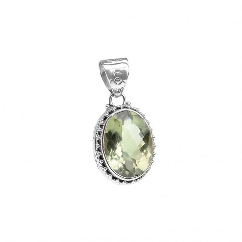 Beautiful Green Amethyst Sterling Silver Pendant