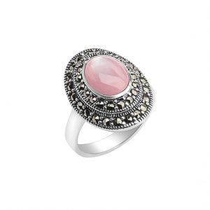 Elegant Sterling Silver Marcasite Pink Mother of Pearl Ring