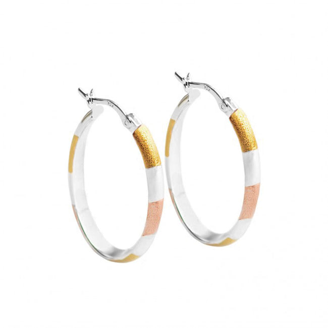18kt Tri-Color Plated Sterling Silver Oval Hoops