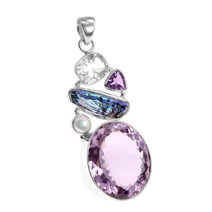 Captivating Brazilian Fine Cut Large Lavender Amethyst and Mixed Stones Sterling Silver Pendant