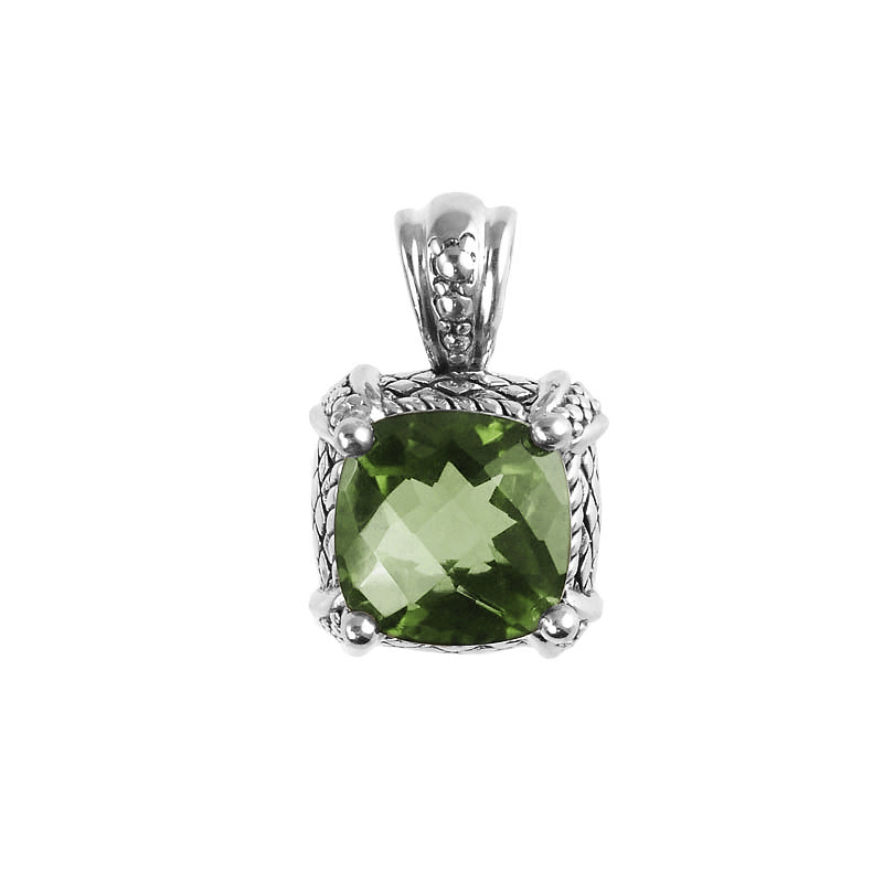 Sparkling Green Amethyst Sterling Silver Pendant