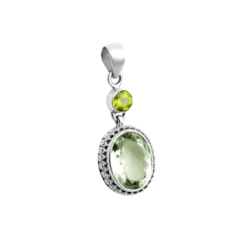 Beautiful Green Amethyst Peridot Sterling Silver Pendant