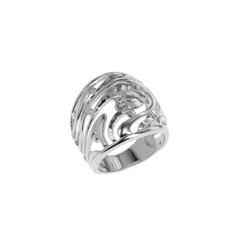 Beautiful Sea Swirl Rhodium Plated Sterling Silver Ring