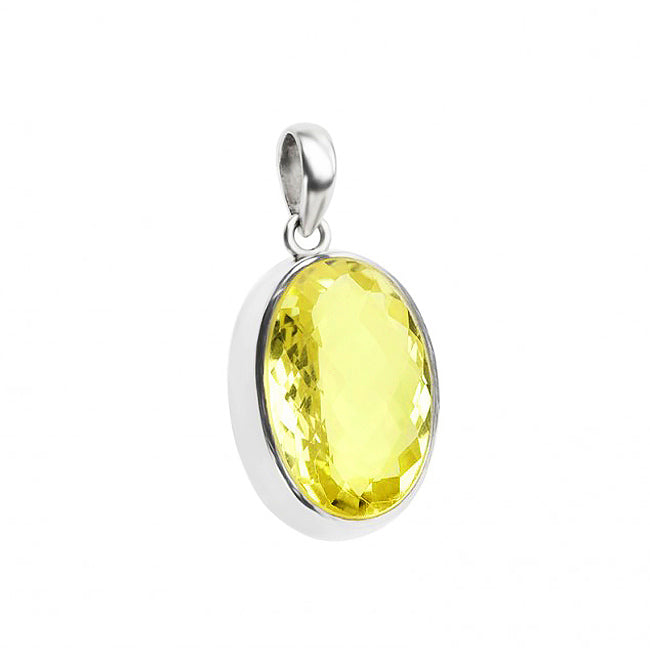 Exquisite Lemon Quartz Sterling Silver Pendant