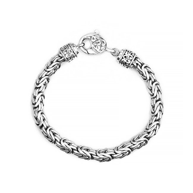 Sterling Silver 8mm Borobadur Bali Bracelet w/ Filigree Lobster Clasp