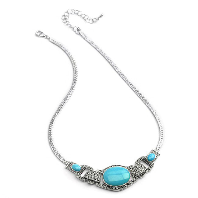 Stunning Arizona Blue Turquoise and Marcasite Sterling Silver Necklace