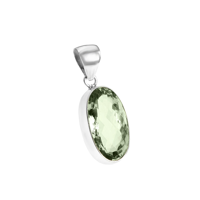 Gorgeous Diamond Cut Green Amethyst Sterling Silver  Pendant