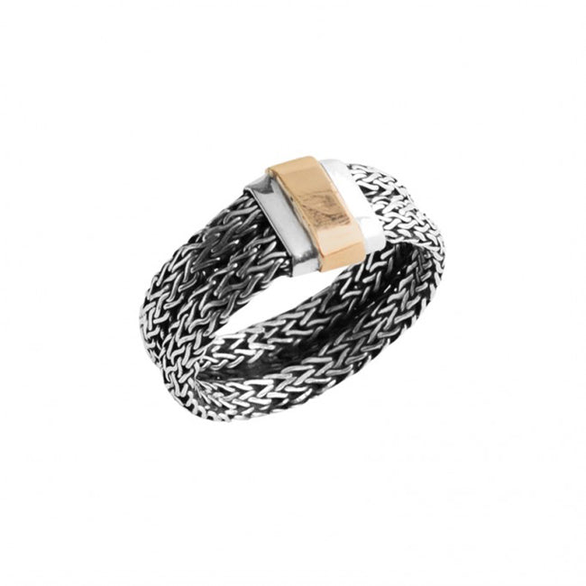 Designer DeGruchy Bali Weave Sterling Silver Ring with 10kt Gold Sheeting