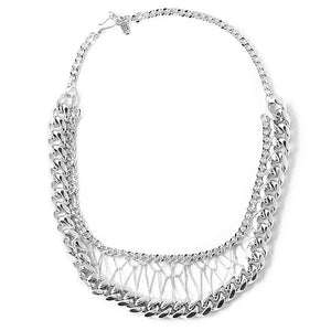 Chunky Woven Chain Silver Plated Statement Necklace