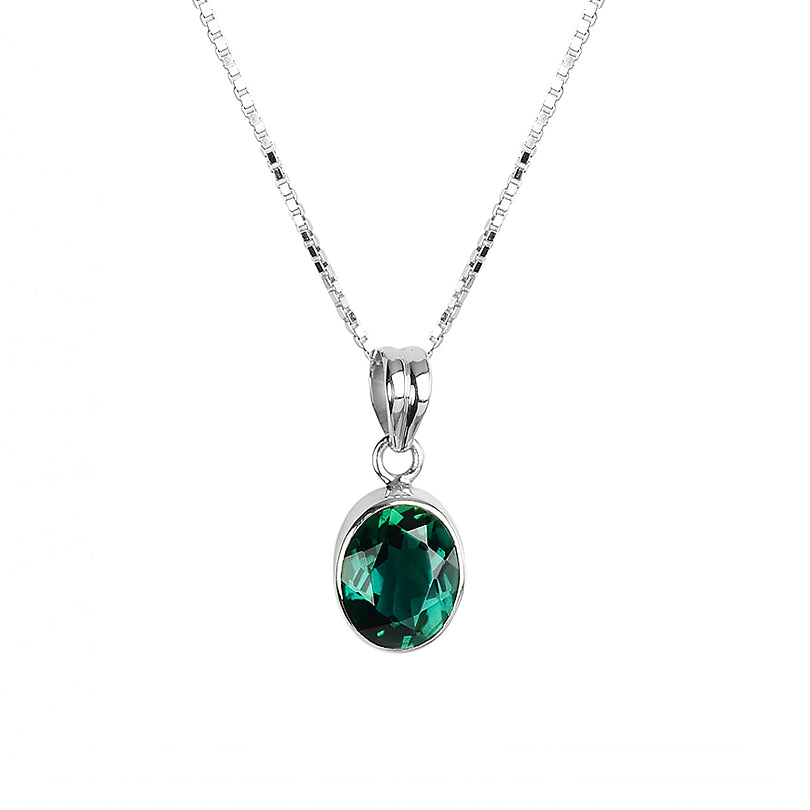 Rich Emerald Green Quartz Sterling Silver Necklace