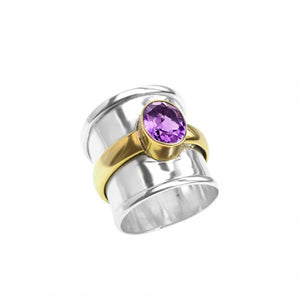 Amethyst Sterling Silver Wide Band Ring with Brilliant Brass Accent