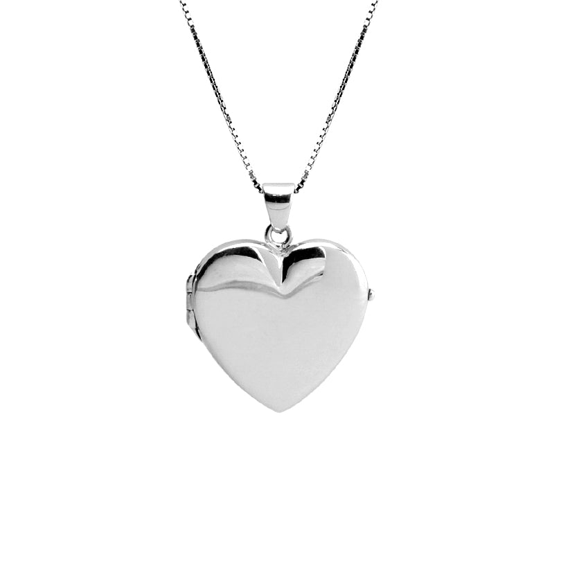 Beautiful Italian Heart Locket Rhodium Plated Sterling Silver Necklace