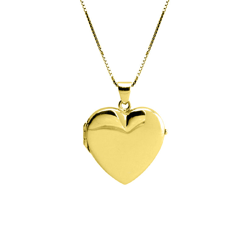 Gold Plated Italian Sterling Silver Heart Locket Necklace