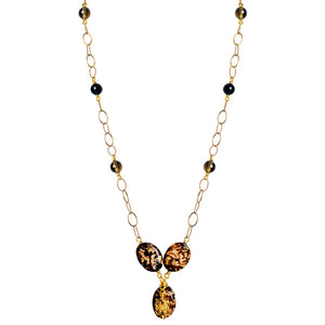 Exotic Leopard Print Agate, Smoky Quartz and Black Onyx Gold Plated Necklace.