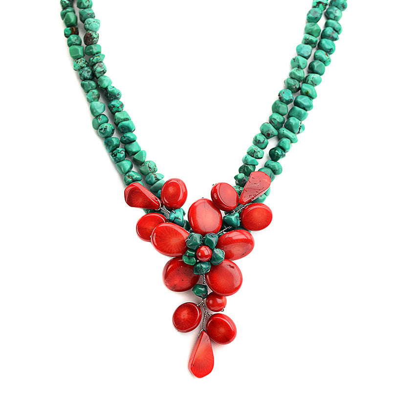 Beautiful Coral Flower with Genuine Turquoise Flower Statement Necklace