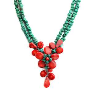 Beautiful Coral Flower With Genuine Turquoise Neckline Necklace