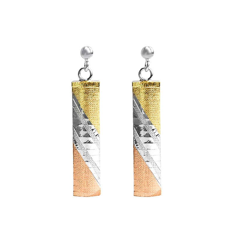18kt Tri-Color Gold And Rhodium Plated Sterling Silver Italian Earrings