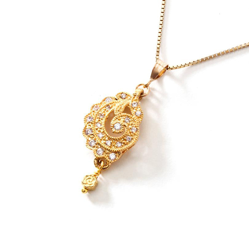 Dazzling Gold Plated CZ Pendant on 18Kt Italian Gold Plated Sterling Silver Chain.