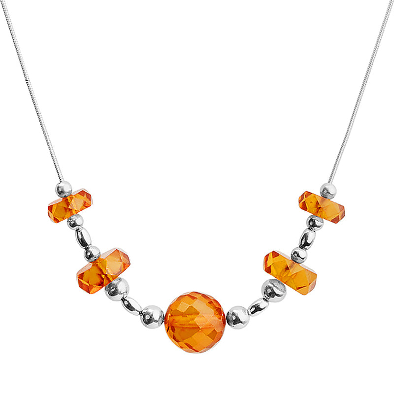 Elegant and Simple Faceted Amber Sterling Silver Necklace