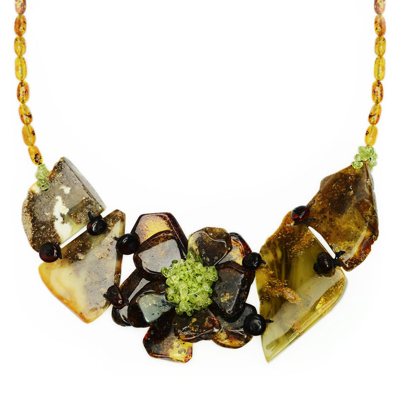 Stunning Natural Baltic Amber Flower and Shimmering Peridot  Necklace by Polish Designer Bozena