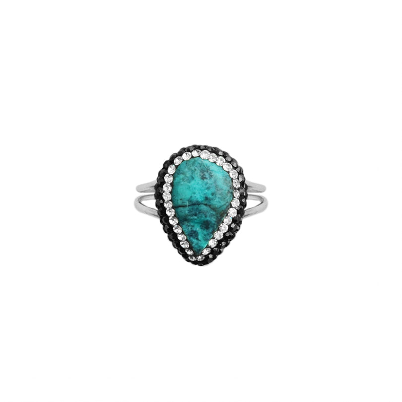 Colorful Chrysocolla and Hematite Crystal Sterling Silver Ring