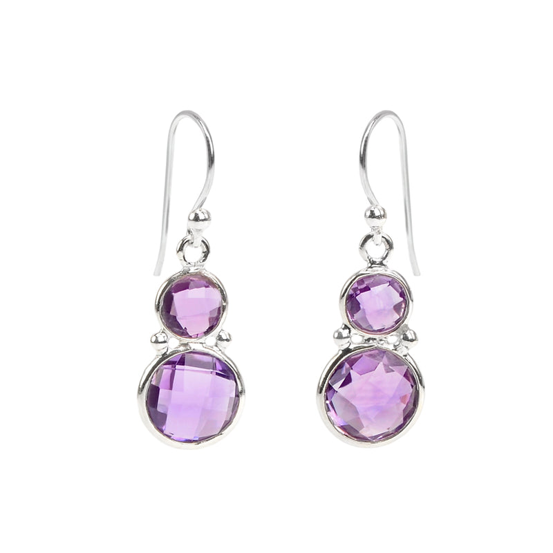 Gorgeous Multi-Faceted Beautiful Amethyst Earrings