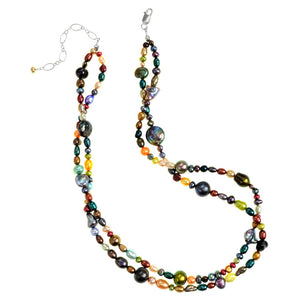 Colorful Fresh Water Pearl Double Strand Beaded Necklace