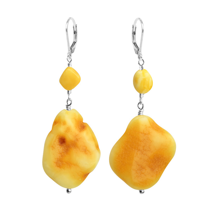 Rich, Rare Baltic Butterscotch Amber Sterling Silver Earrings