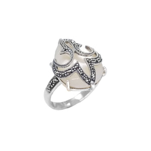 Fleur de Lis Marcasite Sterling Silver Statement Ring-various colors