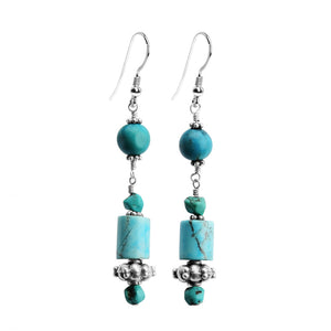 Cute Chalk Turquoise (dyed) and Natural Turquoise Sterling Silver Earrings
