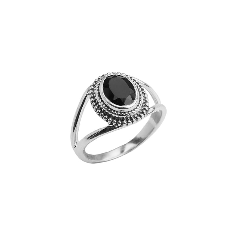 Delicate Black Onyx Sterling Silver Ring